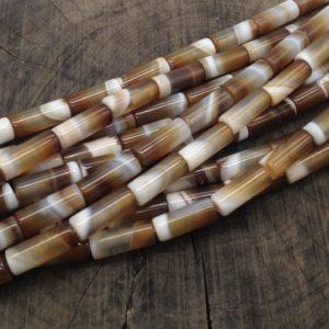 Agata striata brown 8,5x2 mm cilindro - filo 20 pezzi