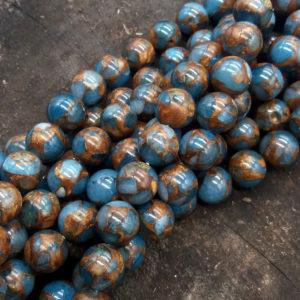 Agata azzurra/bronzo 12 mm pallina - filo 32 pezzi
