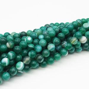 Agata striata pallina 10 mm verde - filo 38 pezzi