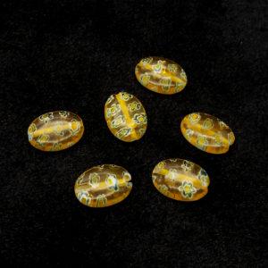 VETRO (IMITAZIONE MURRINA) OVALE GIALLO 10X14 MM LISCIO -  6  pezzi
