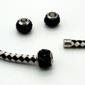 CHIUSURA MAGNETICA A SFERA RESINA E METALLO STRASS NERO 14x11 mm -  1  pezzi