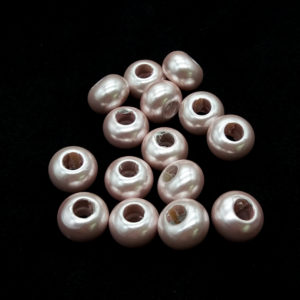 PLASTICA BEADS ROSA CHIARO PERLATO 14 MM -  15  pezzi